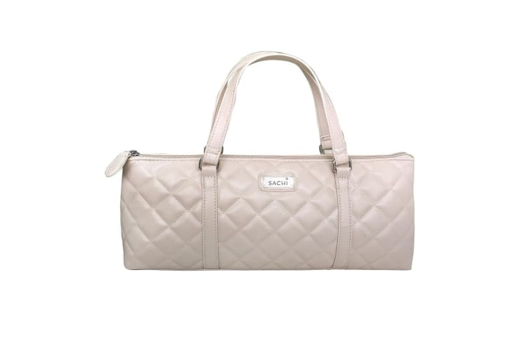 Sachi Insulated Wine Purse Quilted Nude
