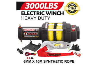 ATEM POWER 12V Electric Winch Wireless 3000LBS / 1360KG Synthetic Rope w/Remote 12V ATV 4WD Boat