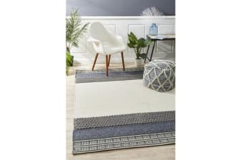 Ryder Denim & Grey Scandi Wool Textured Rug 320x230cm