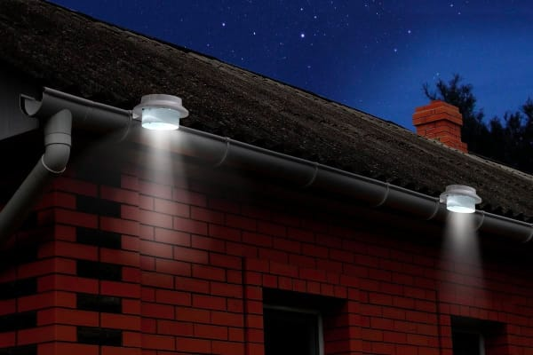 Solar Powered LED Gutter Lights (2 Pack)
