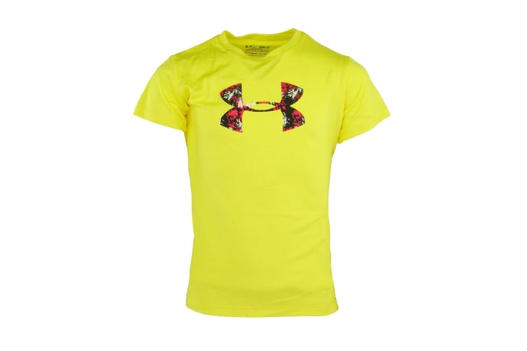 Under Armour Girls' Graphic Big Logo T-Shirt (Yellow/Pink, Size L)