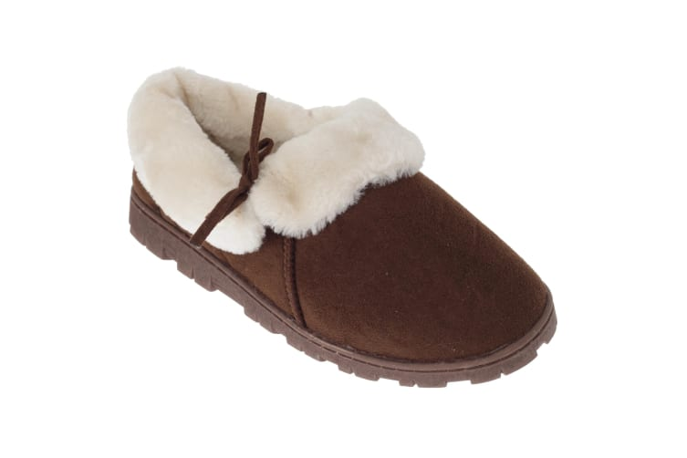 SlumberzzZ Womens/Ladies Fleece Lined Slippers With Rubber Sole (Brown/Cream) (7 UK / 40 EU)