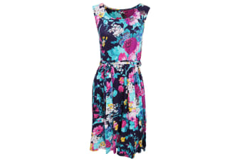 Womens/Ladies Sleeveless Flower Garden Print Summer Dress With Round Neck Line (Blue)