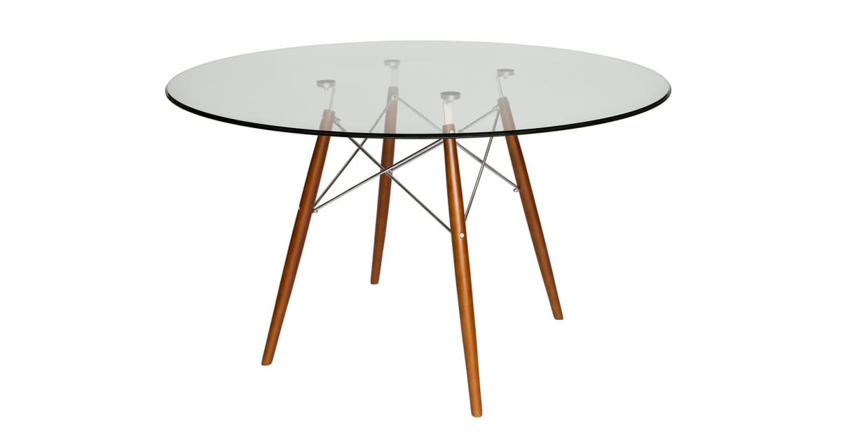 Replica Eames DSW Eiffel Dining Table | Walnut Legs | Glass | 120cm    Kogan.com