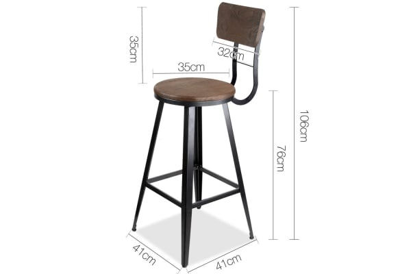 Industrial Bar Stool with Backrest 76cm