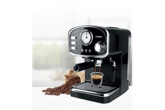 TODO Espresso Coffee Machine Maker Automatic 15 Bar Italian Ode Pump 1.25L - Black
