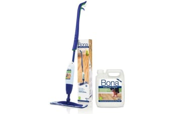 Bona Spray Mop w/ Microfibre Pad/850ml Wood Floor Cleaner Cartridge/2.5L Refill
