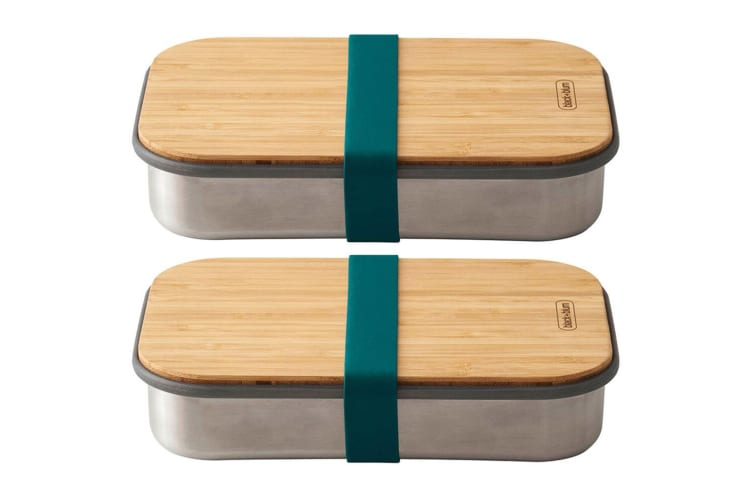 2PK Black + Blum 900ml Stainless Steel Sandwich Box Container w  Bamboo Lid Blue