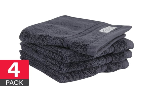 Onkaparinga Ethan 600GSM Face Washer 4 Pack (Charcoal)