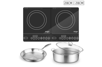 SOGA Dual Burners Cooktop Stove, 28cmStainless Steel Induction Casserole and 28cm Fry Pan