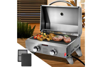 Portable Gas BBQ LPG Oven Camping Cooker Grill 2 Burners Outdoor