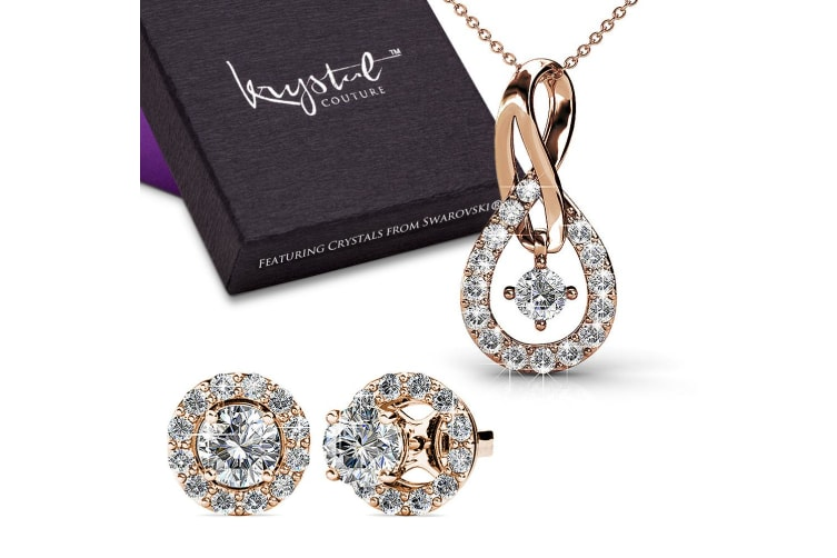 Boxed Monarch Necklace And Earrings Embellished with Swarovski crystals