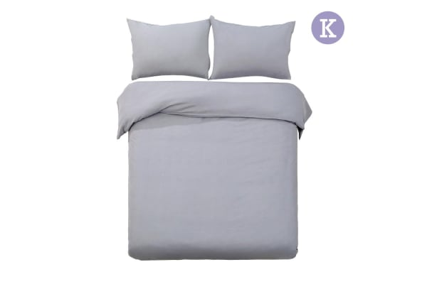 Giselle Bedding Plain Dyed Quilt Cover Set (King/Grey)