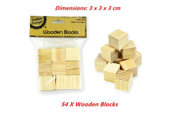 54 x Wooden Blocks Cubes 3x3x3cm Wood Maths Puzzle Building Stacking Toy Handcraft