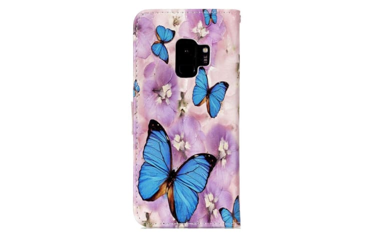 For Samsung Galaxy S9 Wallet Case Leather Flower Butterfly Pattern