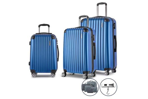 3 Piece Luggage Suitcase Trolley (Blue)