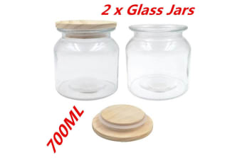 2 x Glass Canister Jar With Wooden Sealed Lid 700ml Airtight Jars Storage Kitchen WM