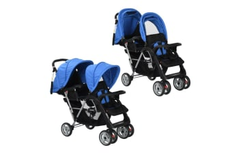 vidaXL Tandem Stroller Steel Blue and Black