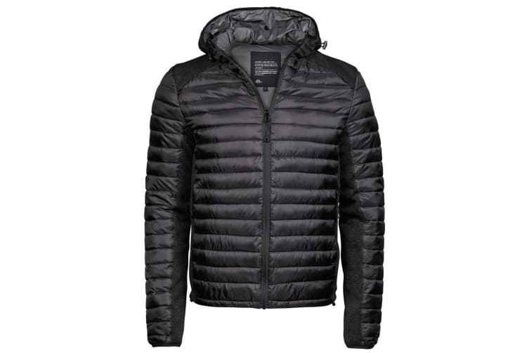 Tee Jays Mens Aspen Crossover Jacket (Jet Black/Black Melange) (3XL)