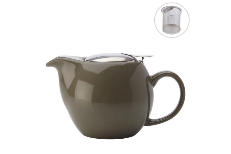 Maxwell & Williams Green 350ml Cafe Culture Porcelain Teapot w Strainer Infuser