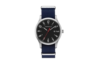 Caravelle Men's Anolog Quartz Watch with Two Interchangeable Straps - Navy & Olive/Stainless Steel (43B160)