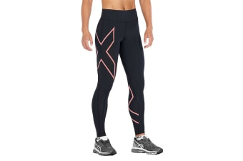 2XU Women's Bonded Mid-Rise Tights (Black/Candlelight Peach)