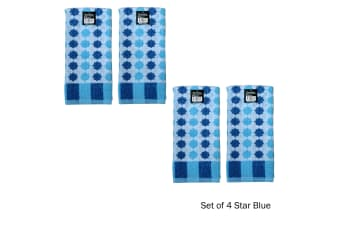 Set of 4 Cotton Terry Tea Towels Star Blue