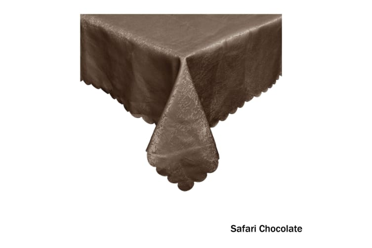 Jacquard Table Cloth Safari Chocolate 180 cm Round