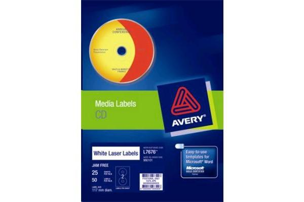 AVERY  LABEL CD-R/DVD L7676-25 25 SHEET