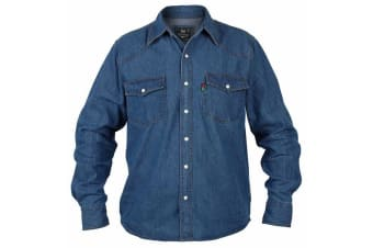 Duke Mens Kingsize Western Denim Shirt (Stonewash)