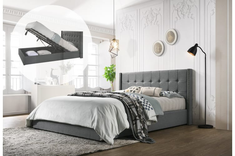 Remarkable King Designer Winged Storage Bed Frame Gas Lift Ottoman In Light Grey Gamerscity Chair Design For Home Gamerscityorg