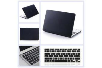 "Marble Frosted Matte Hard Case with Free Keyboard Cover for MacBook Pro 13"" 2016-2018 A1706 A1989 (With Touch Bar)-Matte Black"