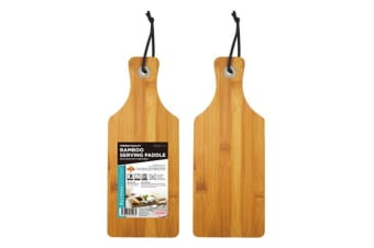 2 x Bamboo Wooden Paddle Serving Board Cutting Chopping Board Platter 28x11CM