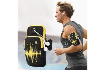 Black Universal 6.2-inch Device Armband Functional Sports Double Zipper Bag