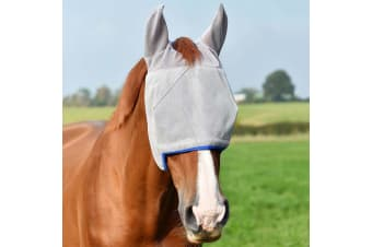 Equilibrium Field Relief Midi Horse Fly Mask (With Ears) (Grey/Blue)
