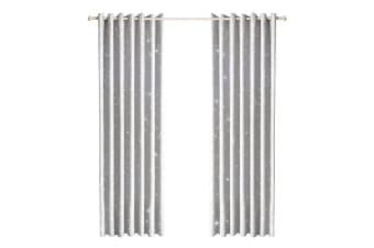 Star Blockout Blackout Curtains 3 Layers Eyelet Pure Fabric Room Darkening Silver Grey