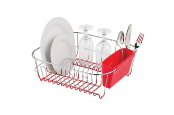 Avanti Dish Rack Drying Holder Tray Kitchen for Cup Plates Cutlery Drainer Red