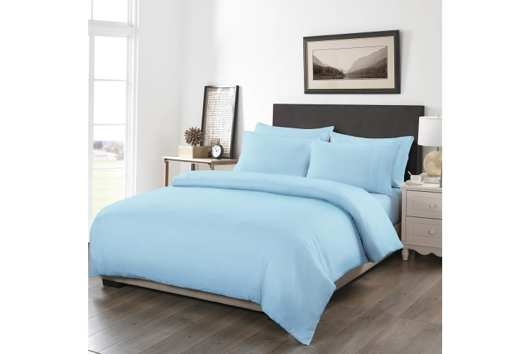 Royal Comfort 1200TC Fitted Sheet Quilt Cover and Pillowcase Combo Set UltraSoft - Queen - Sky Blue