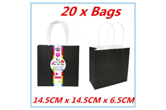 20 x Medium Kraft Paper Gift Carry Wedding Party Boutique Bags Black Color Bag w Handle