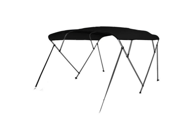 Kaiser Boating 4 Bow 1.5-1.7m Bimini Top Boat Canopy - 200cm length - Black - Complete kit includes Aluminium Frame + 600D Oxford Polyester Cover + Rear Poles + Sock