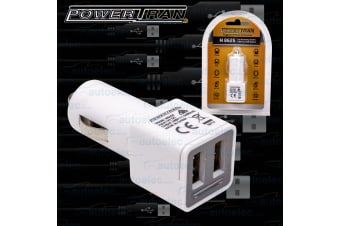 12V VOLT CAR ACCESSORY SOCKET 2 WAY USB IPHONE IPAD IPOD MP3 CHARGER 2X 2.4 AMP