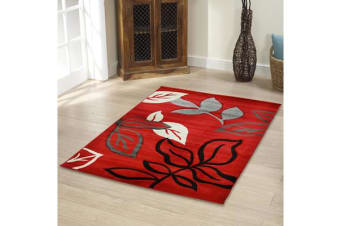 Stunning Thick Leaf Runner Rug Red