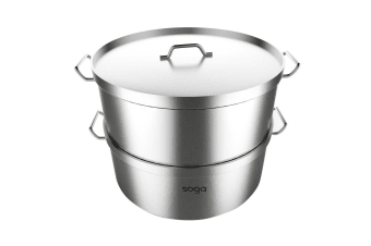 SOGA Food Steamer 40cm Commercial 304 Top Grade Stainless Steel 2 Tiers