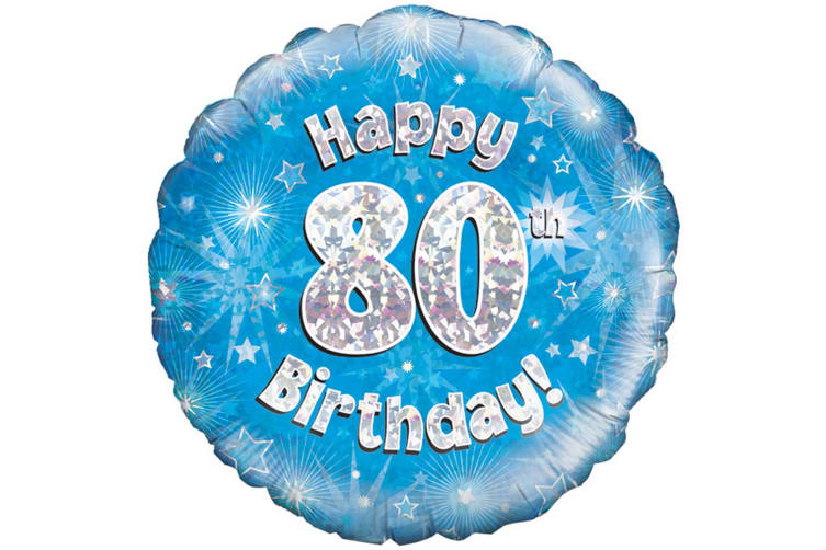 Oaktree 18 Inch Happy 80th Birthday Blue Holographic Balloon (Blue/Silver) (One Size)