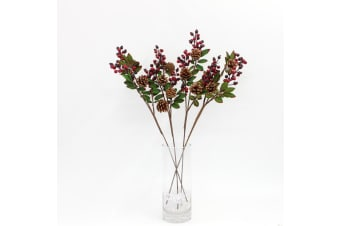 4x 74cm Christmas Red Berry Holly Branch Pine Cones Artificial Flower Wreath Q