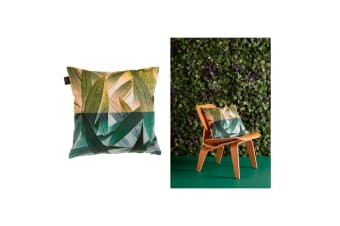 Tropical Flora Green Quality Design Filled Polyester Cotton Cushion 45 x 45 cm by Bedding House