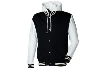 Skinni Fit Mens Heavy Weight Baseball Jacket With Detachable Hood (Black/Off White)