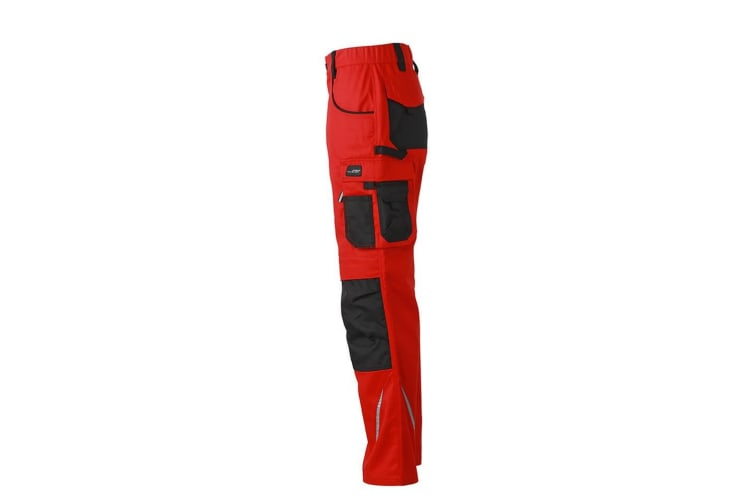 James and Nicholson Mens Workwear Pants (Red/Black) (30R)