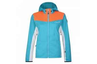 Dare2B Womens/Ladies Sovereign Softshell Jacket (Light Blue/Bright Red Orange) (UK Size 20)