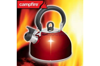 NEW STAINLESS STEEL WHISTLING KETTLE 2.5 LITRE CAMPING WATER CAMPFIRE BRAND RED